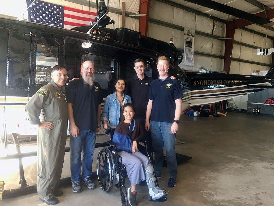 Jocelyn and Keshala with members of the Snohomish County Helicopter Rescue Team
